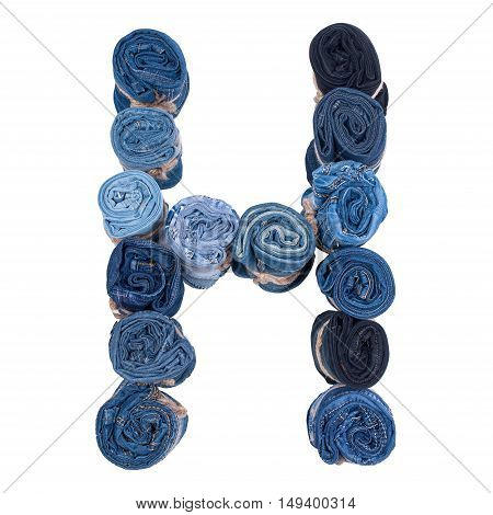 Letter H made of jeans roll on a white background