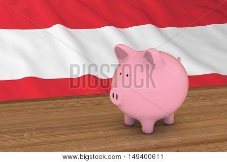 Austria Finance Concept - Piggybank In Front Of Austrian Flag 3D Illustration