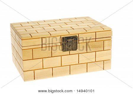 Closed wood box isolated on white background