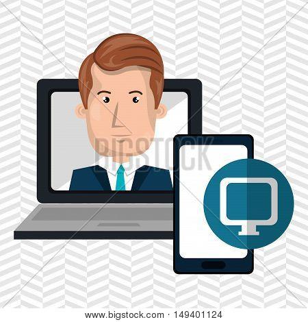 laptop man smartphone web vector illustration eps 10