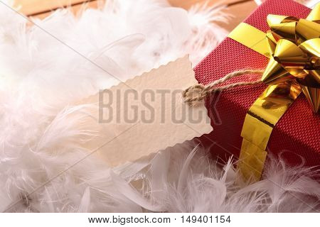 Red Gift Box With Tag Hanging On Feathers Top Wiew