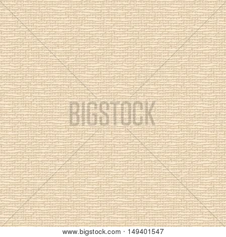 Beige canvas fabric texture. Vector seamless background.