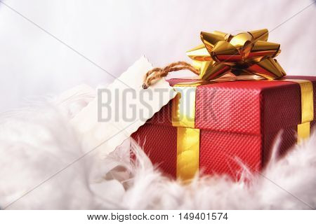 Red Gift Box With Tag On Feathers Front Wiew