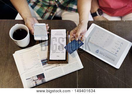 Insurance Plan Payment Bill Credit Card Concept