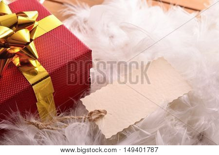 Red Gift Box With Tag On Feathers Top View