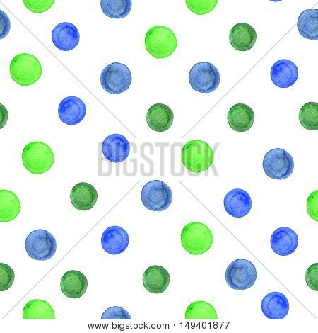 Vintage watercolor background with blue and green circles.
