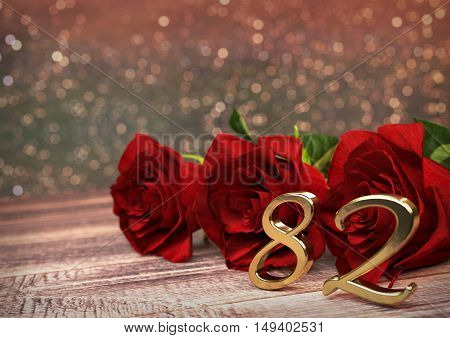 birthday concept with red roses on wooden desk. 3D render - eighty-second birthday. 72nd
