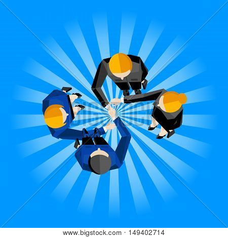 Business template, vector illustration. Top view of four business partners shaking hands on striped blue background. Manager business meeting to employees. Contract conclusion. Cooperation concept