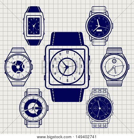 Ball pen watch icons set on notebook page. Vector illustration