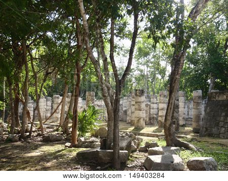 Tourist icons - historical Mayan architecture in Mexico