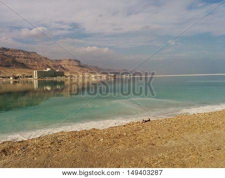 A beach in the clear dead sea