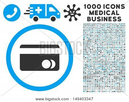 Banking Card icon with 1000 medical business gray and blue vector pictograms. Collection style is flat bicolor symbols, white background.
