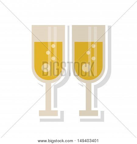 Couple of cups of champagne icon. Wedding marriage love and celebration theme. Isolated design. Vector illustration
