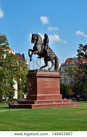 BUDAPEST, HUNGARY - SEPTEMBER 15: Equestrian monument of Francis II Rakoczi in the central Kossuth Square SEPTEMBER 15, 2016 in Budapest, Hungary