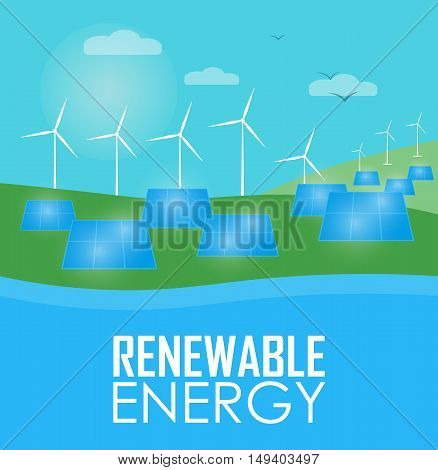 Renewable energy vector illustration. Wind generator turbines and solar panels on river bank. Windmills for electric power production. Modern alternative energy generation. Ecological electricity