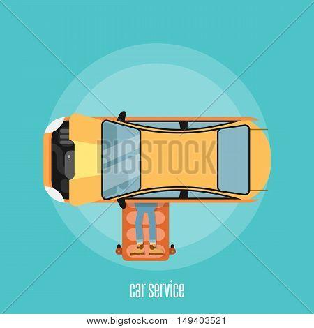 Car repair service concept flat vector illustration