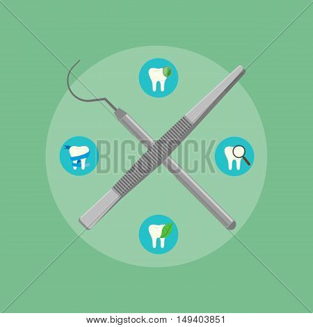 Dental instruments crosswise on green background with round teeth icons. Dentistry isolated vector illustration. Medical professional equipment. Healthcare and tooth care concept. Dental hygiene