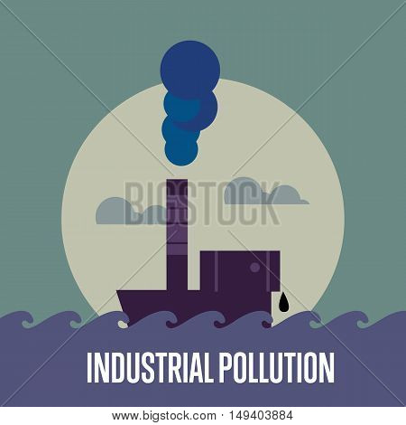 Industrial pollution banner, vector illustration. From pipe factory smoke, polluting the atmosphere. Environmental problems. Smoking factory concept. Heavy industry plant.