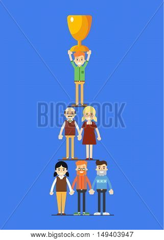 Teamwork businesspeople pyramid with winner cup, isolated vector illustration on blue background. Business success banner. Win concept. Collaboration and partnership, working together. Business team