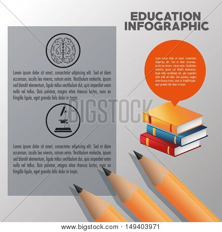 Books and pencil icon. Education and learning infographic theme. Grey background. Vector illustration