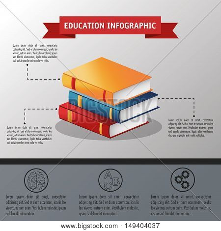 Books icon. Education and learning infographic theme. Grey background. Vector illustration