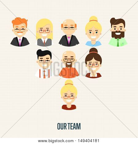 Group of smiling male and female faces avatars on white background. Our team banner, vector illustration. Teamwork and business team concept. Corporate hierarchy. Human resource management