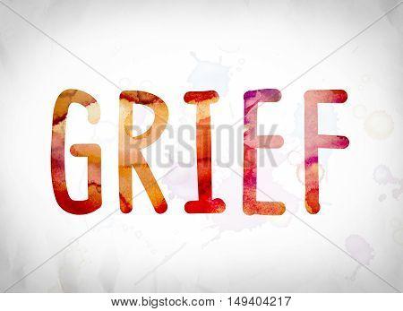 Grief Concept Watercolor Word Art