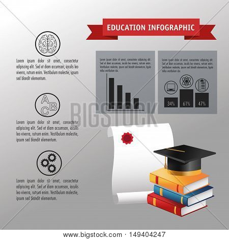 Books dipoloma and graduation cap icon. Education and learning infographic theme. Grey background. Vector illustration