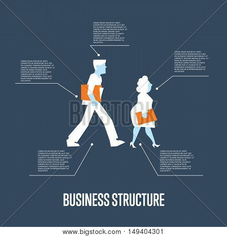 Business people with folders walking. Business structure infographics with space for text, isolated vector illustration on blue background. Teamwork concept. Corporate culture. Business mechanism