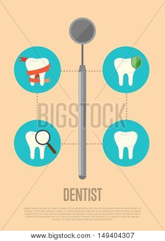 Dental tools infographics with tooth icon and special dental tools instrument. Dentist tools. Dental treatment concept. Tooth care and restoration. Dentist office equipment. Healthcare equipment. Poster for dentist office or dentist ad.