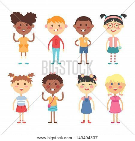 Group of school kids children together. Different nations happy character together concept vector. Little cute primary school children. School kids positive smiling children