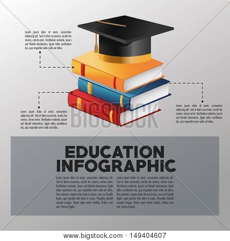 Books and graduation cap icon. Education and learning infographic theme. Grey background. Vector illustration