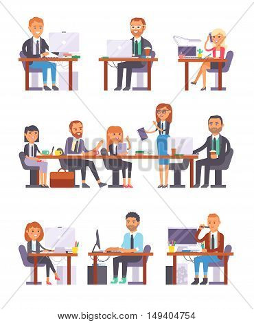People working in busy office. Computer, meeting, worker office people at work. Casual corporate men office people at work team group professional communication job occupation vector set.