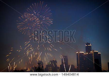 Detroit skyline with fireworks on 4th July celebration