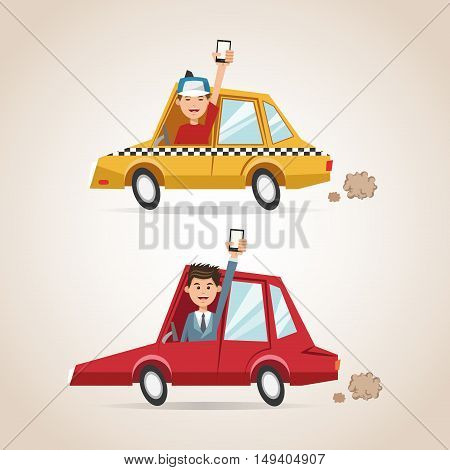 Cartoons men cars and smartphones. Gps navigator location travel and route heme. Colorful design. Vector illustration
