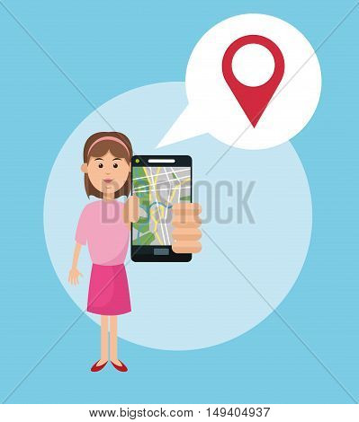 Cartoon woman and smartphone. Gps navigator location travel and route heme. Colorful design. Vector illustration