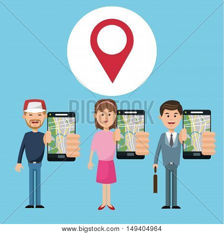 Cartoon woman man and smartphone. Gps navigator location travel and route heme. Colorful design. Vector illustration