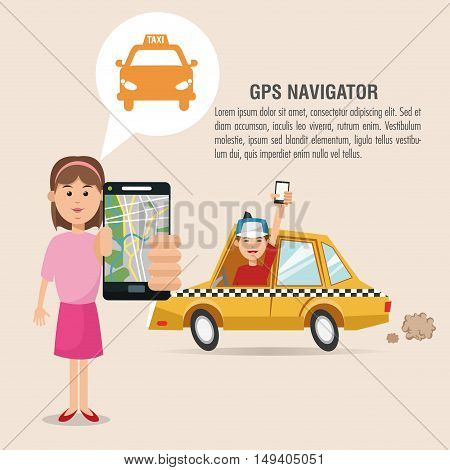 Cartoon woman man taxi and smartphone. Gps navigator location travel and route heme. Colorful design. Vector illustration