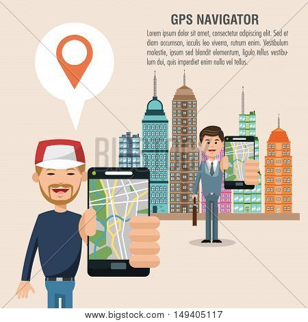 Cartoon man city and smartphone. Gps navigator location travel and route heme. Colorful design. Vector illustration