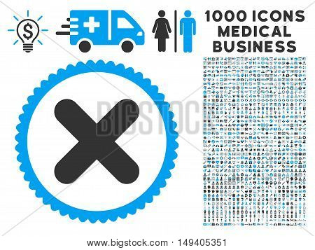 Cancel icon with 1000 medical commercial gray and blue vector design elements. Collection style is flat bicolor symbols, white background.