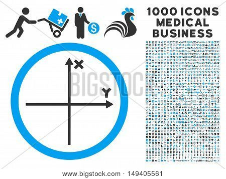 Cartesian Axis icon with 1000 medical commerce gray and blue vector pictograms. Design style is flat bicolor symbols, white background.