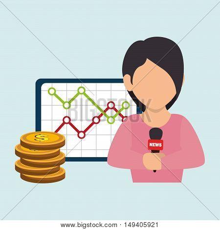 woman rating news money vector illustration eps 10