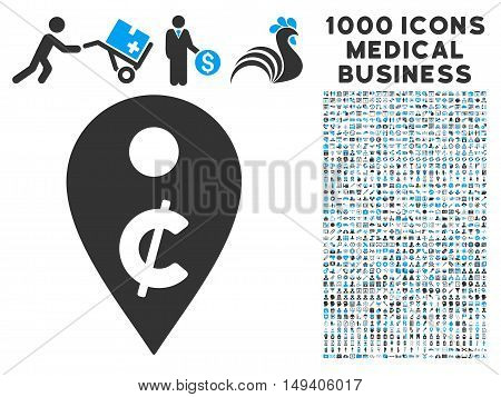 Cent Map Marker icon with 1000 medical business gray and blue vector pictograms. Collection style is flat bicolor symbols, white background.
