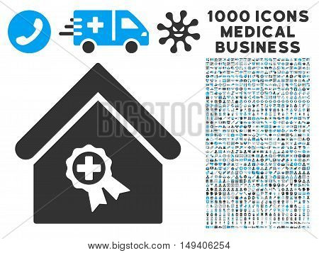 Certified Clinic Building icon with 1000 medical commercial gray and blue vector design elements. Clipart style is flat bicolor symbols, white background.