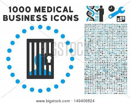 Closed Prisoner icon with 1000 medical business gray and blue vector pictograms. Design style is flat bicolor symbols, white background.