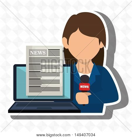 woman news laptop report vector illustration eps 10