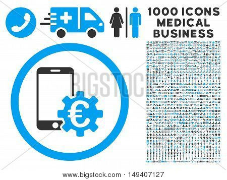 Configure Mobile Euro Bank icon with 1000 medical commerce gray and blue vector pictograms. Clipart style is flat bicolor symbols, white background.
