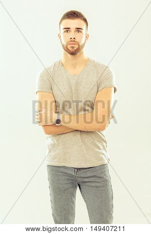 Portrait of a happy casual man standing