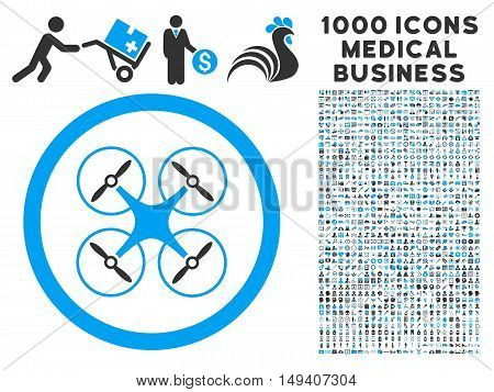 Copter icon with 1000 medical commerce gray and blue vector design elements. Collection style is flat bicolor symbols, white background.