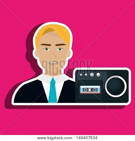 man voice recorder news vector illustration eps 10